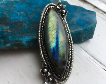 Meadow Rain ~ Labradorite Ring with Flowers