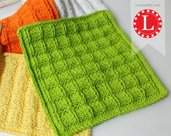 Looms Knitting Patterns Dishcloth / Washcloth  / Bath cloth / Towel Waffle Stitch with Video Tutorial by Loomahat
