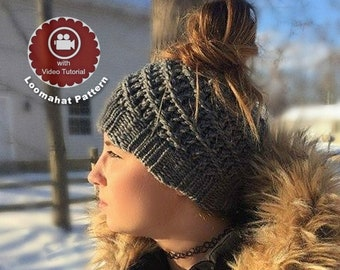 1cd1f06377a Loom Knitting Pattern Messy Bun Hat - Spiral Slouchy with Video Tutorial  EASY for Beginner