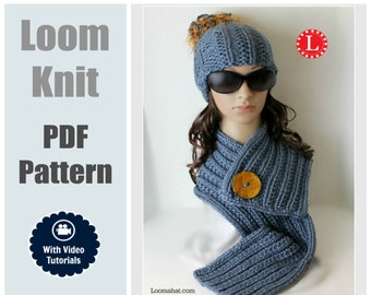 Loom Knit Hat & Scarf PATTERNS Farrow Rib Stitch Set with Step by Step Video Tutorial
