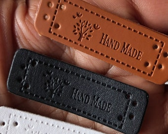 Handmade Labels Tags Sewing  Black White Tan  PU Leather 4 Holes | For Knits Crafts Scrapbooks | Loomahat *D10