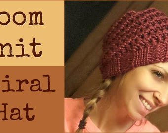 Loom Knitting Patterns Hat - 2 (Two) Spiral Slouchy and Messy Bun with Video Tutorial EASY for Beginner by Loomahat
