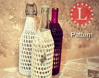 Loom Knitting Pattern Wine Bottle Mesh Sleeve Cover   Water bottle cover   Knitting Gift  With Video Tutorial   Loomahat