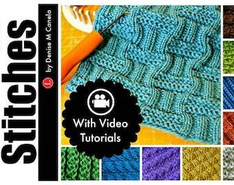 Loom Knitting Patterns 10 Stitches:  Andalusian, Linen, Double Moss, Interrupted Rib, Diagonal, Bamboo, Celtic Knot by LoomaHat w Video Tut