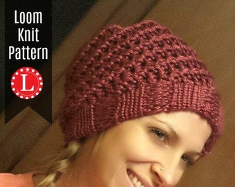 3bf4b65b44c Loom Knitting Patterns Hat - 2 (Two) Spiral Slouchy and Messy Bun with  Video Tutorial EASY for Beginner by Loomahat