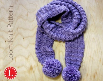 Loom Knitting PATTERNS Pom Pom Scarf with Step by Step Video Tutorial | Loomahat