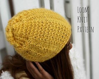 3eb782e3f7e Loom Knitting Patterns Hat Waffle Rib Stitch Slouchy with Video Tutorial  EASY for Beginner by Loomahat