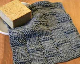 Looms Knitting Patterns Dishcloth / Washcloth  / Bath cloth / Textured Tiles Stitch with Video Tutorial by Loomahat