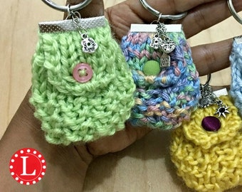 Loom Knitting PATTERNS Mini Purse Key Chain / Bag Key Chain /Miniature Bag Keyring -  Includes Video Tutorial by Loomahat