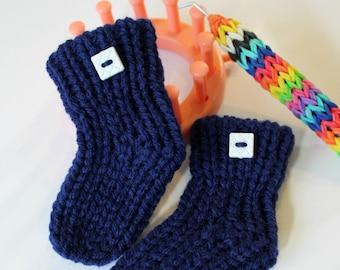 Loom Knitting Baby Booties Sock Pattern NO Holes NO Bulk on Flower Loom EASY
