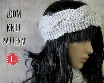 Loom Knitting Patterns Headband Ear Warmer, includes Video Tutorial.  All Knitting Looms with 15 pegs or more   Loomahat