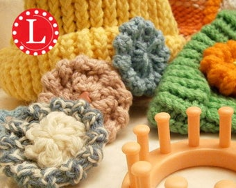 Loom Knitting PATTERNS for Flowers with Step by Step Video Tutorial | The Flat Hat Flower Pattern by Loomahat