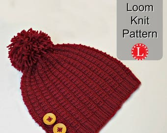 Loom Knitting Pattern Hat Beanie for Men or Women. Bamboo Stitch Hat w Video Tutorial .  Large or Extra Large Round Looms by LoomaHat