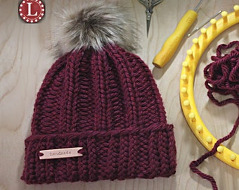 5b2a12ac47f Loom Knitting Patterns Chunky Winter Hat Beanie Slouchy Pattern for Extra  Large Round Looms Men Women by Loomahat