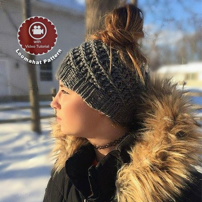 2606c714026 Loom Knitting Pattern Messy Bun Hat Spiral Slouchy with
