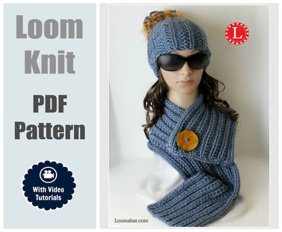 Loom Knit Hat Scarf Patterns Farrow Rib Stitch Set With Step Etsy