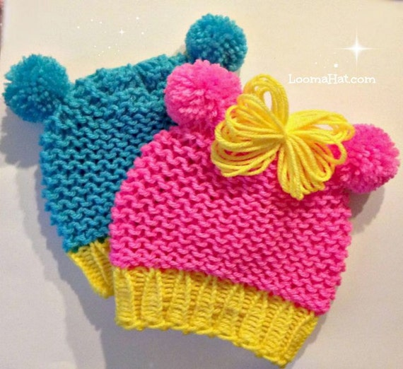 Loom Knit Baby Hat Pattern With Ears Animal Ears Loomahat Etsy