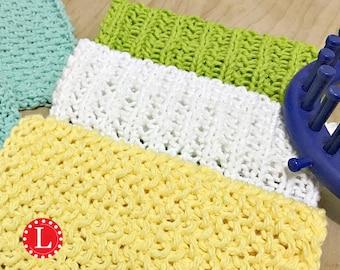 Loom Knitting Patterns 3 Dishcloth / Washcloth  / Bath cloth / Towel / Stitch with Beginner Easy Video Tutorial  by Loomahat