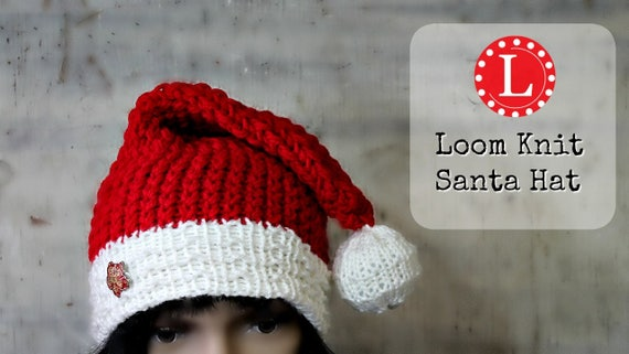 Loom Knitting Patterns Santa Hat Slouchy Beanie For Men Or Etsy
