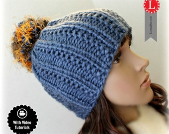Loom Knitting PATTERN Farrow Stitch Hat with Step by Step Video Tutorial