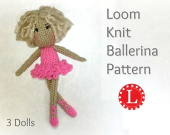 Loom Knitting PATTERNS Doll Toys Amigurumi Tiny Dolls - Ballerinas - Includes Video Tutorial by Loomahat