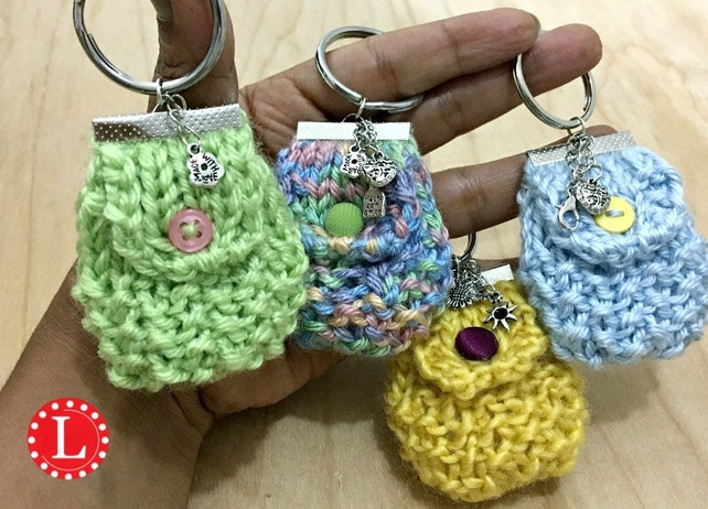 Loom Knitting PATTERNS Mini Purse Key Chain / Bag Key Chain | Etsy