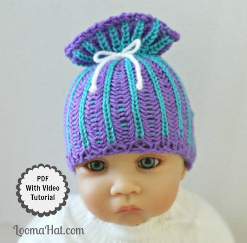 Loom Knit Baby Hat PATTERN with Video Tutorial Brioche ...