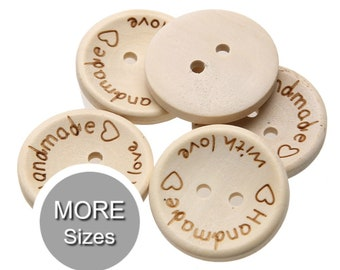 10 Handmade with Love Sewing Button Tags Natural Wooden 25mm,  20mm or 15mm  2 Holes | For Knits Crafts Scrapbooks | Loomahat *D10