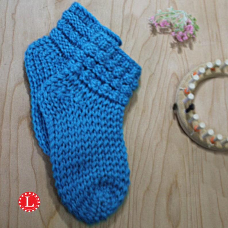 Loom Knitting Pattern Slipper Socks With Bubbles Video Etsy