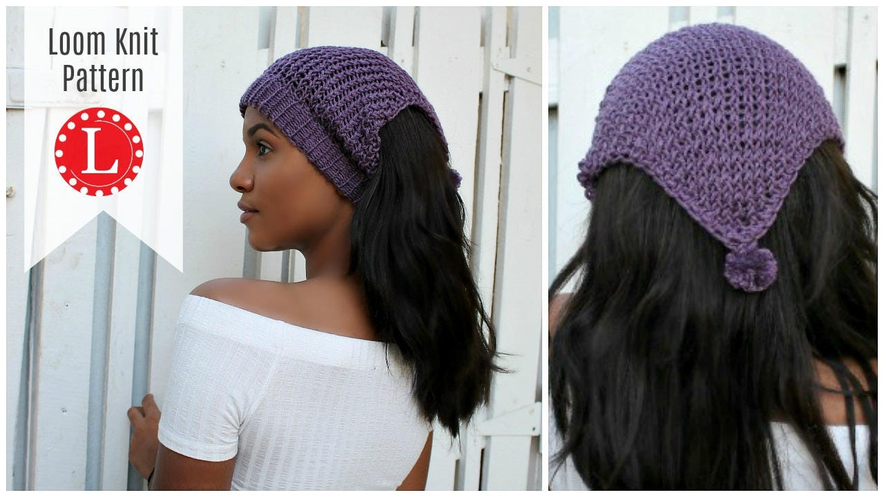 Loom Knitting Patterns Headband Ear Warmer Messy Bun Hat.