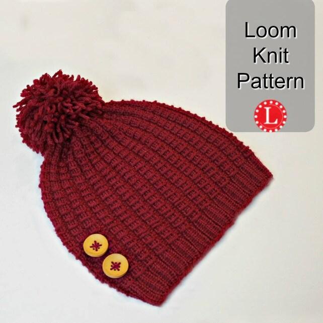 Loom Knitting Pattern Hat Beanie For Men Or Women Bamboo Etsy