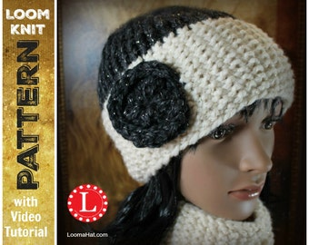 Loom Knitting PATTERNS Seed Stitch Brim Hat and Cowl / Scarf with Step by Step Video Tutorial