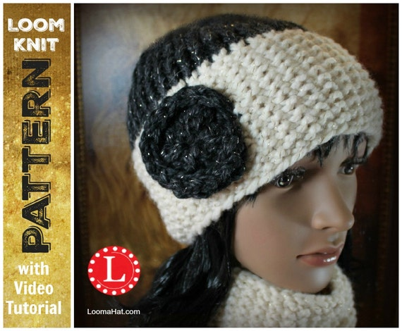 Loom Knitting Patterns Seed Stitch Brim Hat And Cowl Scarf Etsy