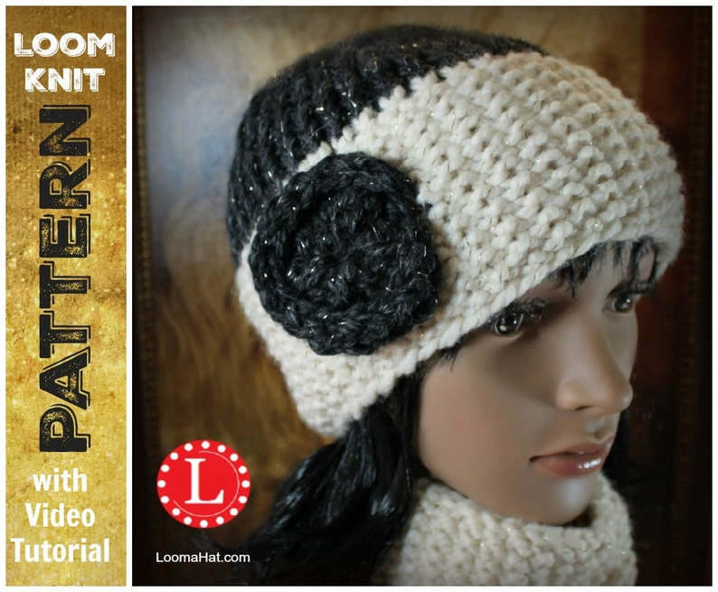 c4b082f0805 Loom Knitting PATTERNS Seed Stitch Brim Hat and Cowl   Scarf