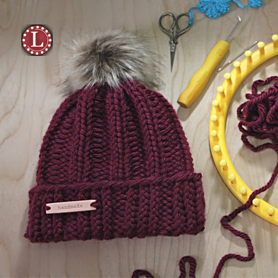 Loom Knitting Patterns Chunky Winter Hat Beanie Slouchy Etsy Simple Round Loom Knitting Patterns