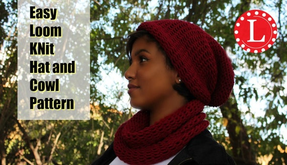 Loom Knitting Patterns Hat Slouchy And Cowl Men Or Women Etsy