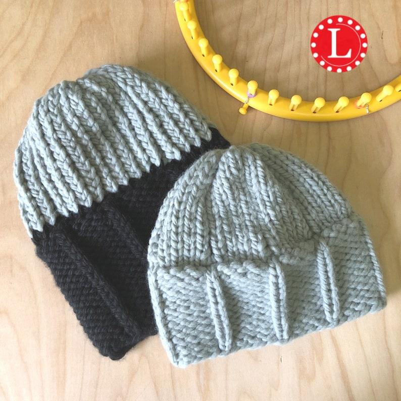2b590aee3cc Loom Knitting Patterns Chunky Matching Men and Child Hat