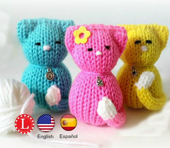 Loom Knitting PATTERNS Tiny Kitty Cat Amigurumi Toys Etsy Stunning Round Loom Knitting Patterns