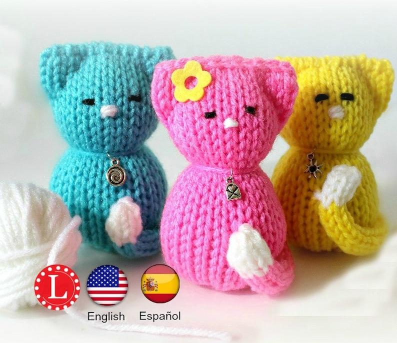 82c4bc139e47 Loom Knitting PATTERNS Tiny Kitty Cat Amigurumi Toys