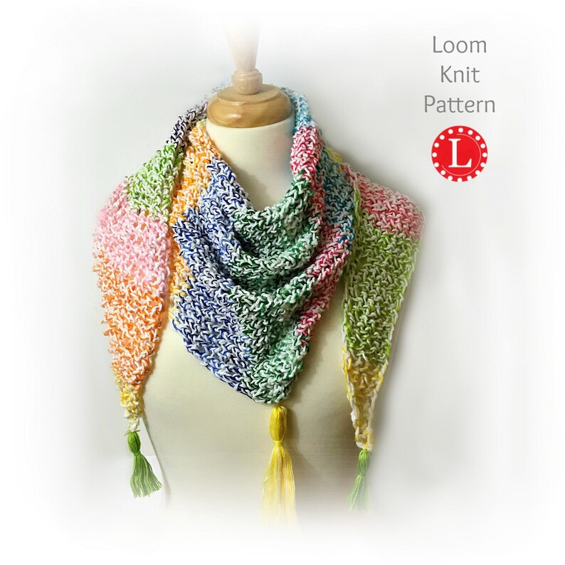Loom Knitting Pattern Scarf Triangle Shawl Pattern Easy Etsy