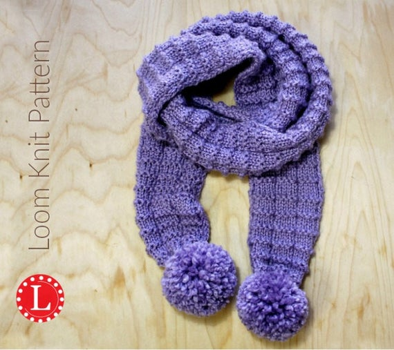 Loom Knitting PATTERNS Pom Pom Scarf With Step By Step Video Etsy Impressive Scarf Loom Patterns
