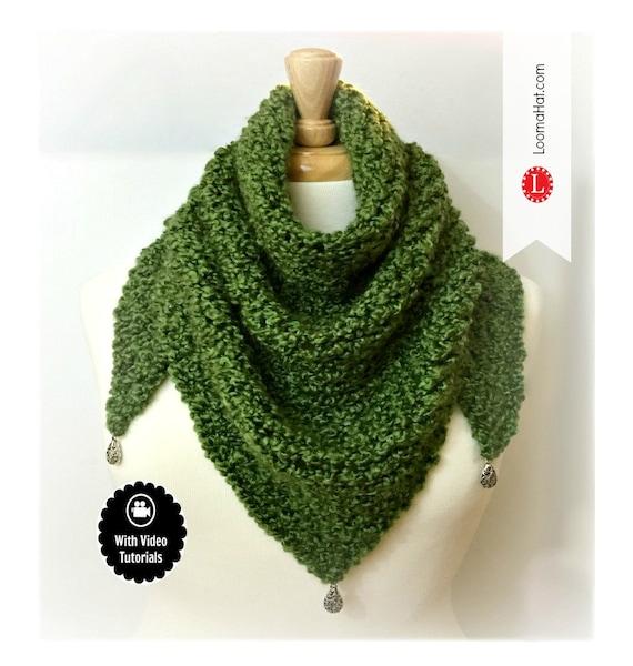Loom Knitting Pattern Scarf Triangle Shawl Pattern Easy Etsy