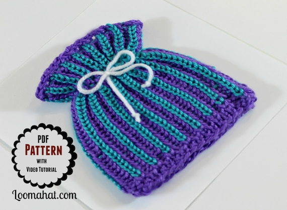 Loom Knit Baby Hat Pattern With Video Tutorial Brioche Stitch Paper