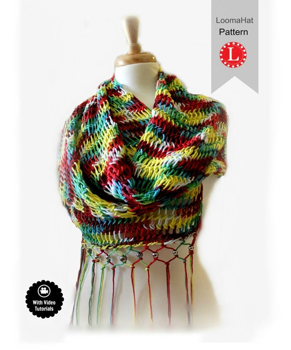 Loom Knitting Patterns Scarf Retangular Shawl Pattern Easy Etsy