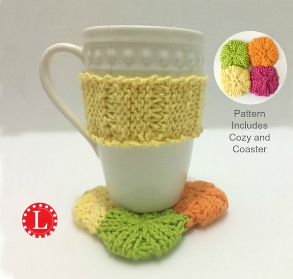 Loom Knitting Cup Cozy And Coaster Pattern Easy Includes Etsy