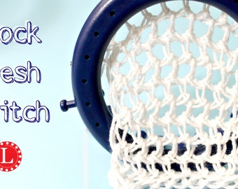 Loom Knitting Stitch PATTERN : The Mock Mesh Lace Stitch with Video Tutorial