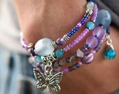 Multi-Strand Beaded Memory Wire Bracelet-Purple and Aqua with Hanging Butterfly Charm