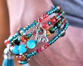 Multi-Strand Beaded Memory Wire Bracelet-Blue and Hot Pink Cat Hanging Charm