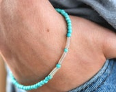 Minimalist Beaded Bracelet with Handmade Silvertone Wire Springs Turquoise Color