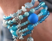 Multi-Strand Beaded Memory Wire Bracelet-Shades of Blue and Hanging Pegaus Charm